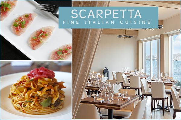 scarpetta restaurant at gurneys resort on goat island newport ri