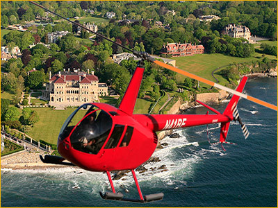 bird's eye view helicopter tours of newport, RI