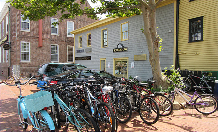 bikes are a great way to get around Newport's small streets and can be parked just about anywhere