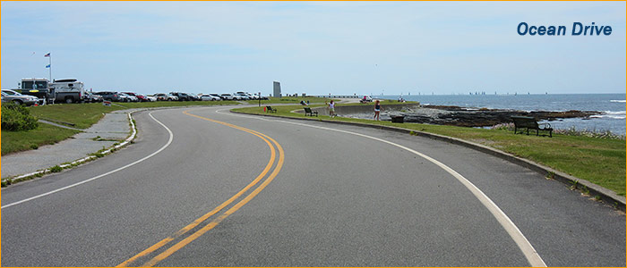 ocean drive is a great place to explore Newport on bike or scooter